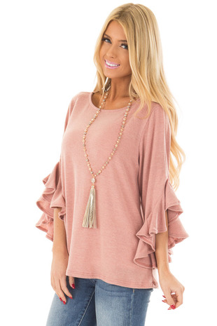 Blush Knit Top with Ruffled Hi Low Sleeves front close up