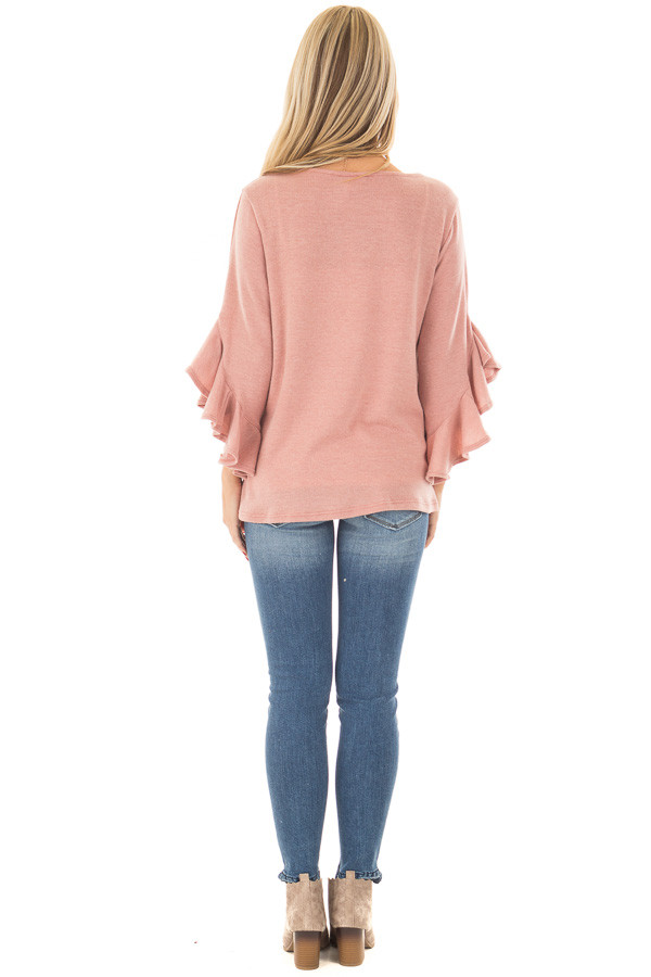 Blush Knit Top with Ruffled Hi Low Sleeves back full body