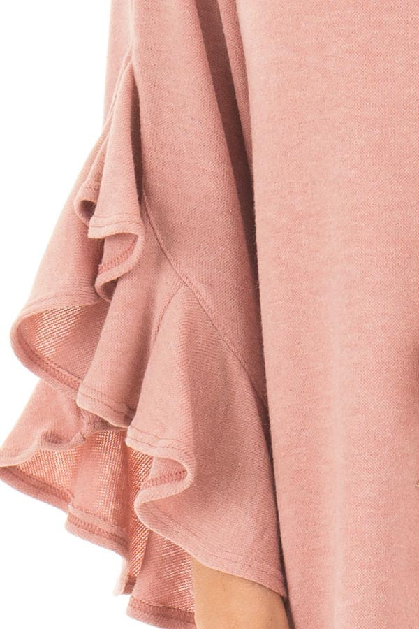 Blush Knit Top with Ruffled Hi Low Sleeves detail