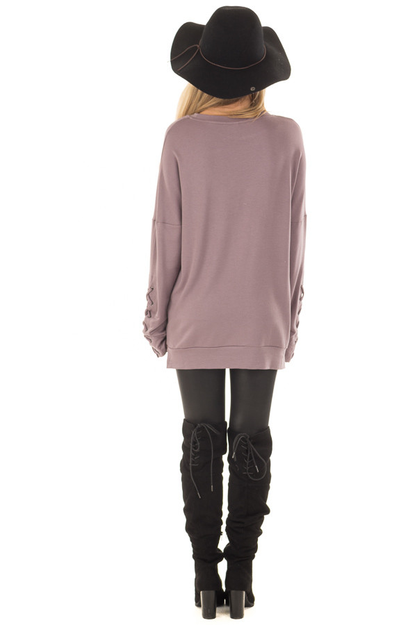 Deep Plum Sweater with Lace Up Sleeve Detail back full body