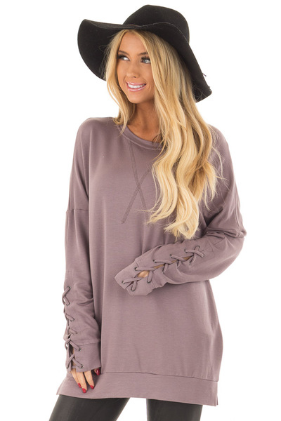 Deep Plum Sweater with Lace Up Sleeve Detail front close up