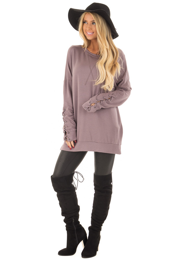 Deep Plum Sweater with Lace Up Sleeve Detail front full body