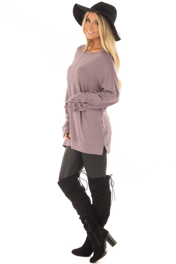 Deep Plum Sweater with Lace Up Sleeve Detail side full body