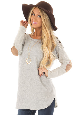 Heather Grey Top with Sheer Lace Detail and Elbow Patches front close up