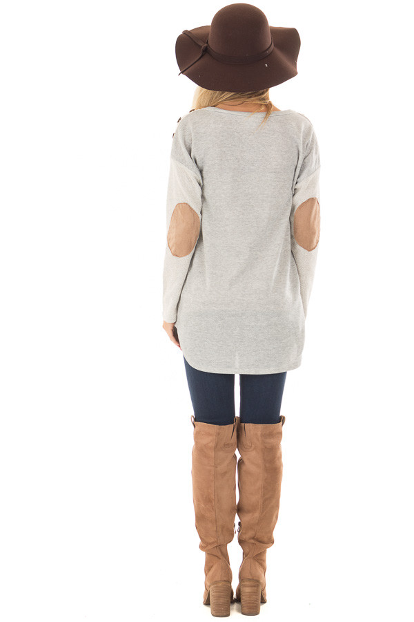 Heather Grey Top with Sheer Lace Detail and Elbow Patches back full body