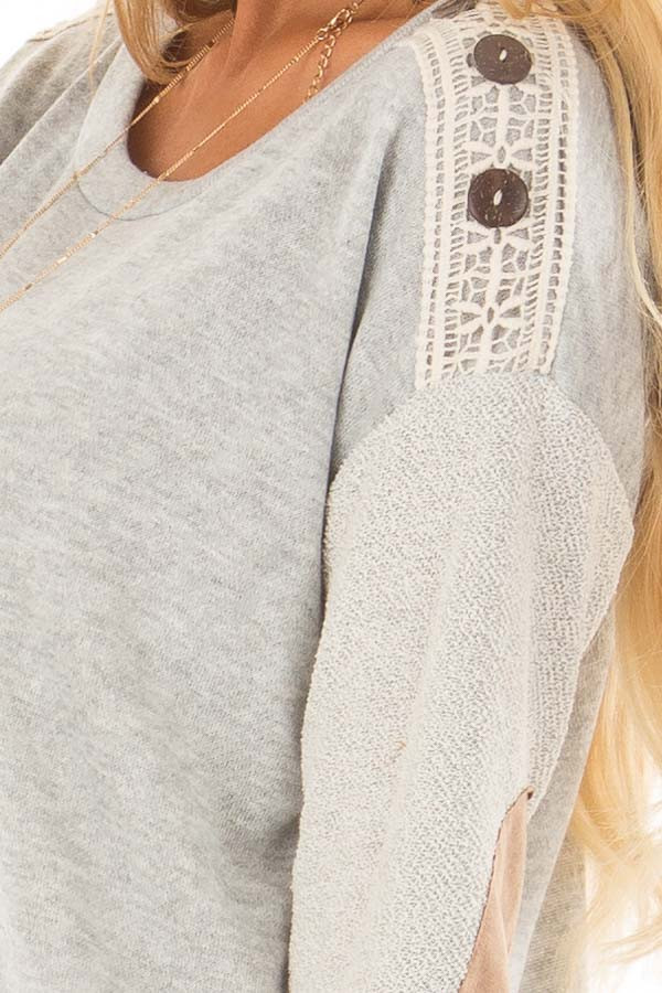 Heather Grey Top with Sheer Lace Detail and Elbow Patches detail