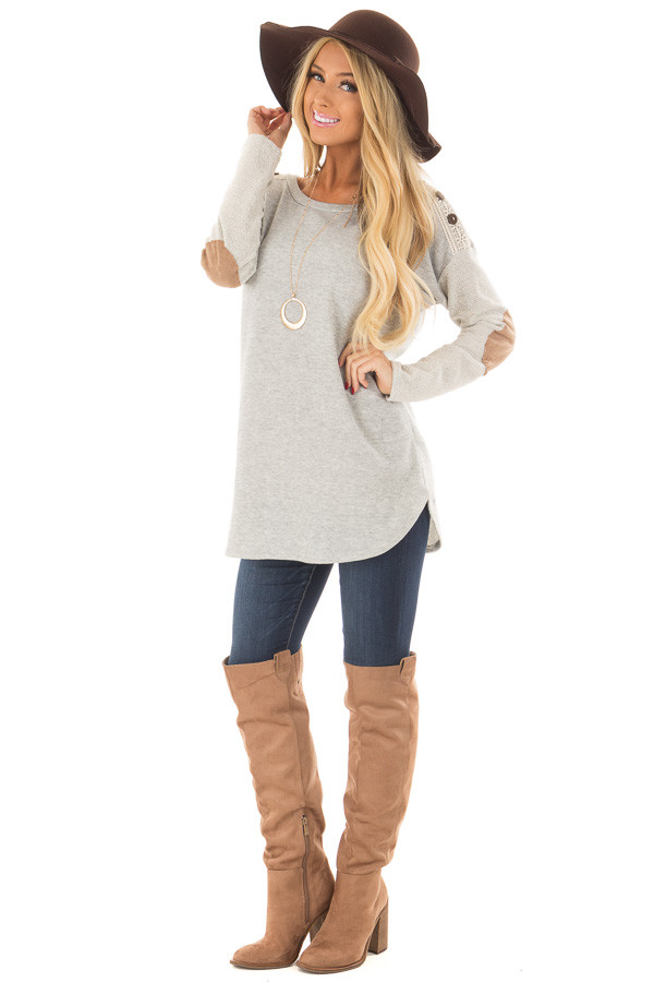 Heather Grey Top with Sheer Lace Detail and Elbow Patches front full body