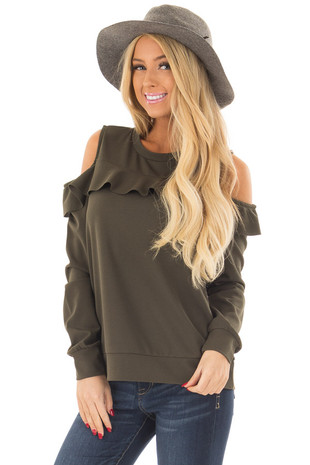 Olive Cold Shoulder Top with Ruffle Detail front close up