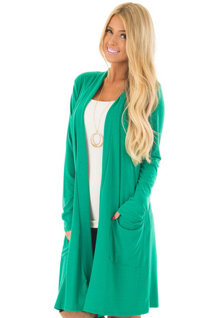 Kelly Green Long Cardigan with Pockets front close up