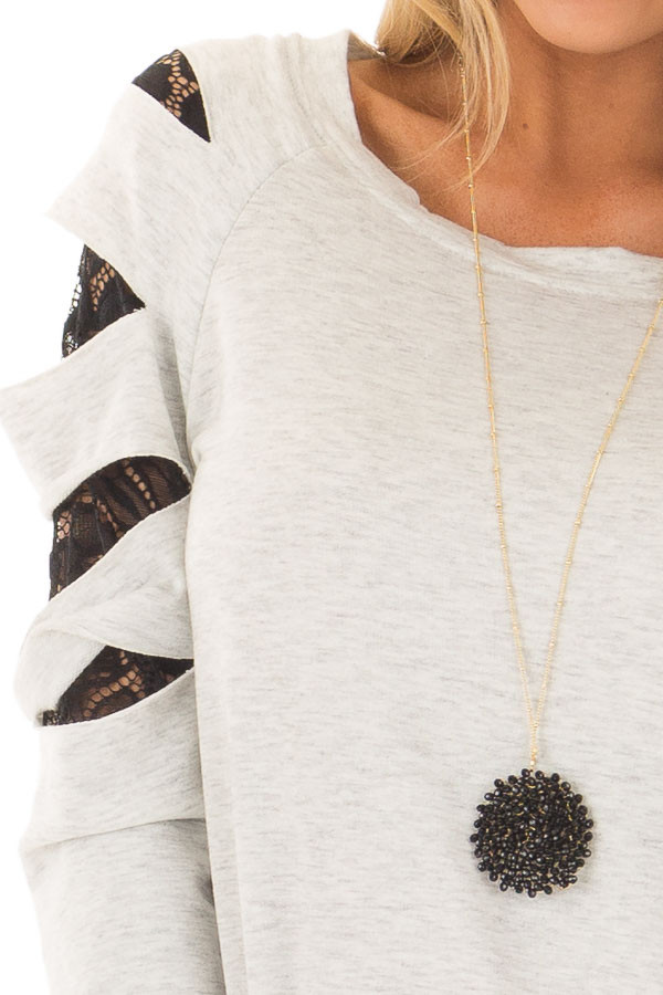 Heather Grey Top with Sheer Lace Slashed Detail detail