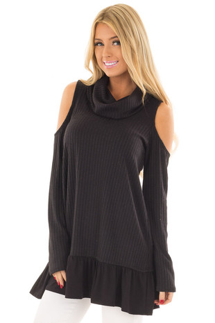 Black Ribbed Cowl Neck Tunic with Cold Shoulders front close up