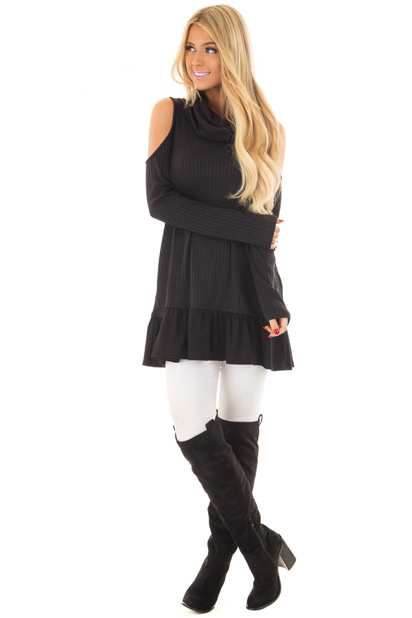 Black Ribbed Cowl Neck Tunic with Cold Shoulders front full body