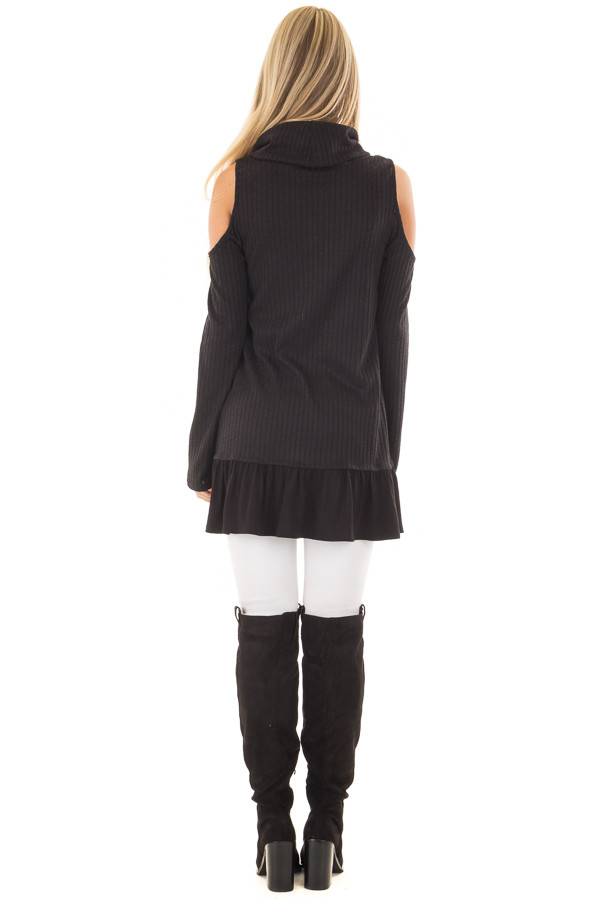 Black Ribbed Cowl Neck Tunic with Cold Shoulders back full body