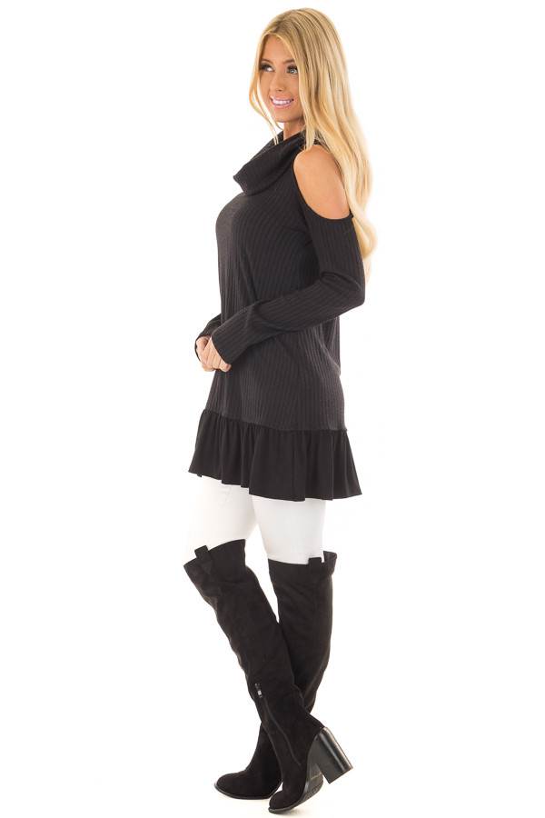 Black Ribbed Cowl Neck Tunic with Cold Shoulders side full body