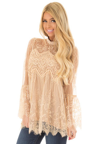 Taupe Sheer Lace Top with Bell Sleeves front close up