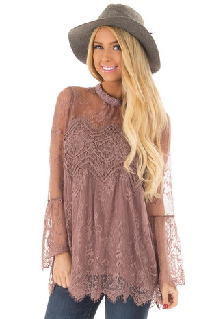 Mocha Sheer Lace Top with Bell Sleeves front close up