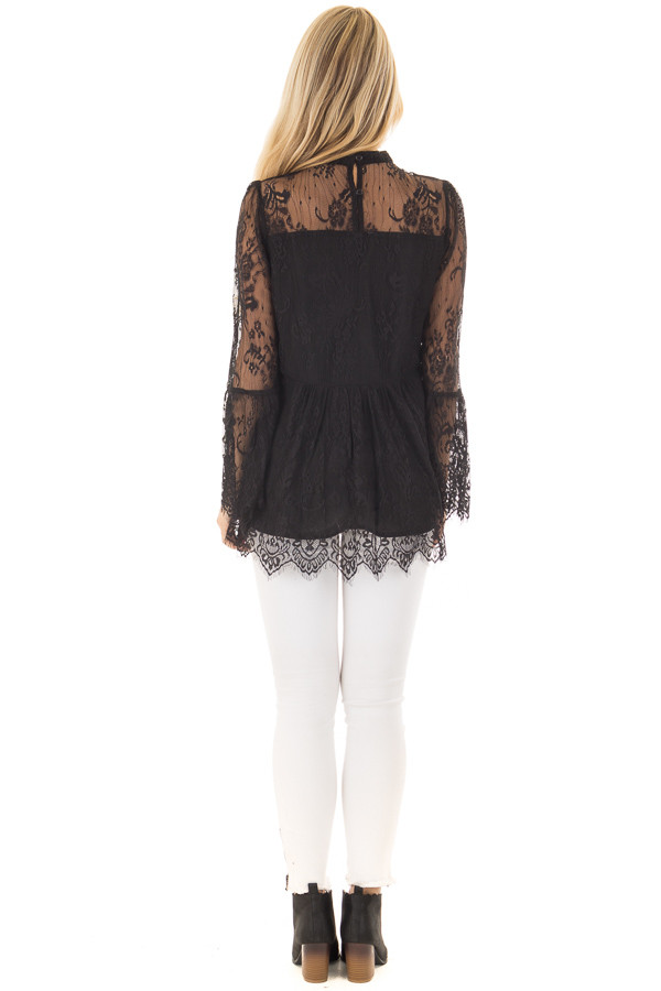 Black Sheer Lace Top with Bell Sleeves back full body