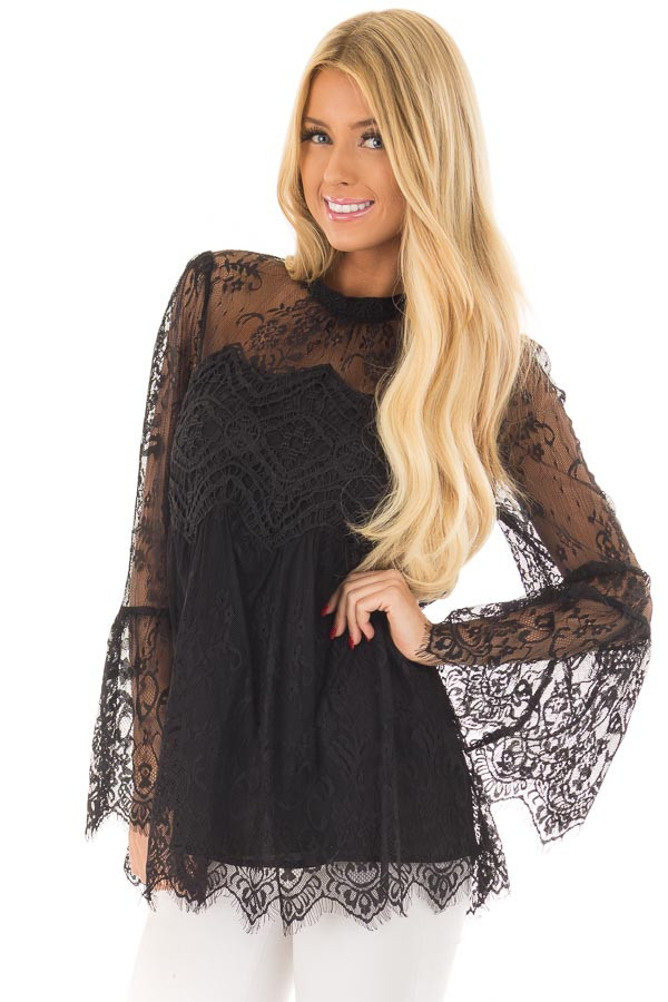 Black Sheer Lace Top with Bell Sleeves front close up