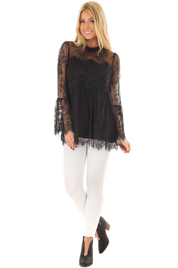 Black Sheer Lace Top with Bell Sleeves front full body