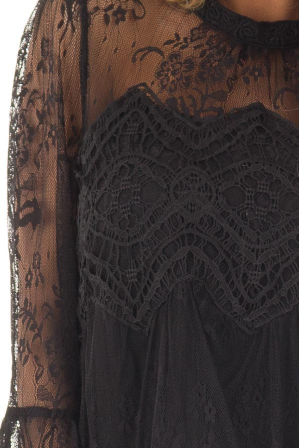 Black Sheer Lace Top with Bell Sleeves detail