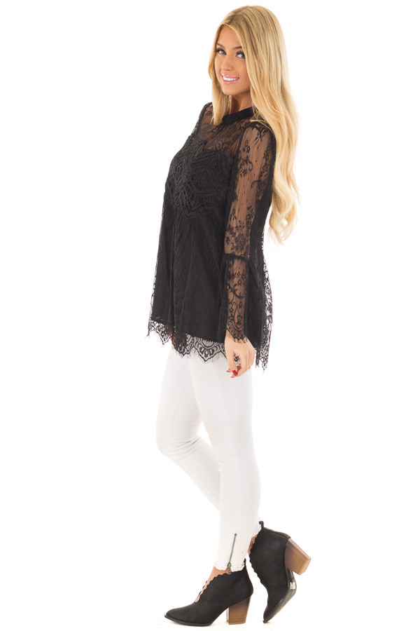 Black Sheer Lace Top with Bell Sleeves side full body