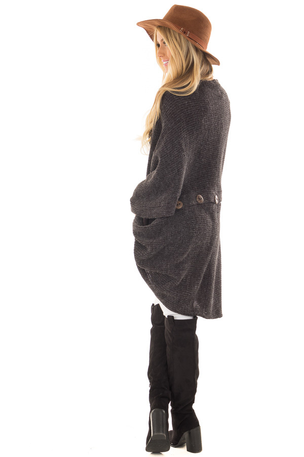 Black Two Tone Cardigan with Button Details back side full body