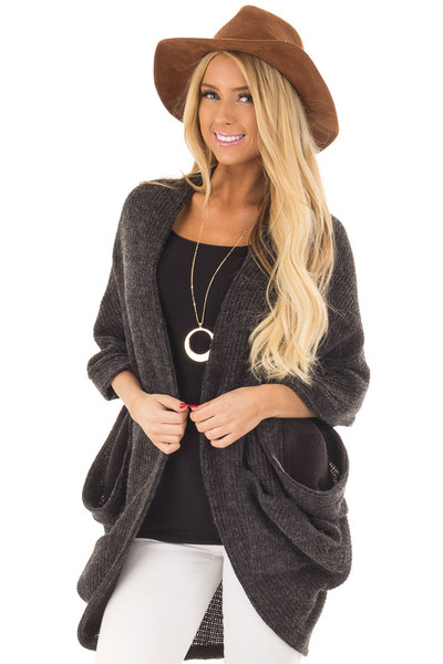 Black Two Tone Cardigan with Button Details front close up