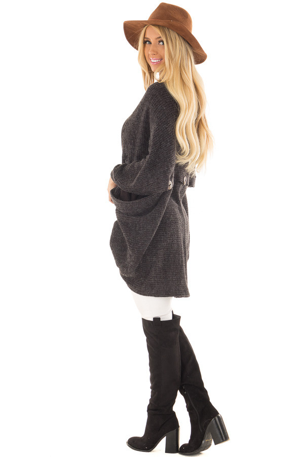Black Two Tone Cardigan with Button Details side full body
