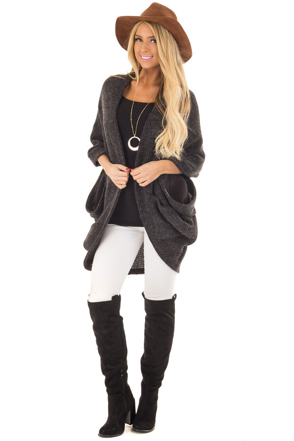 Black Two Tone Cardigan with Button Details front full body