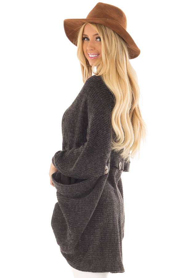 Black Two Tone Cardigan with Button Details side close up
