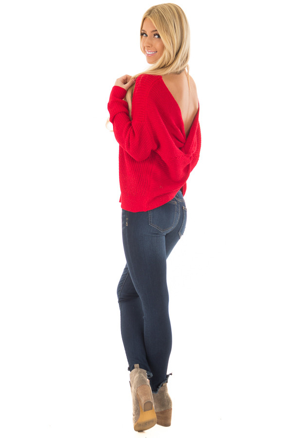 Cherry Red Knit Sweater with Open Twist Back back side full body
