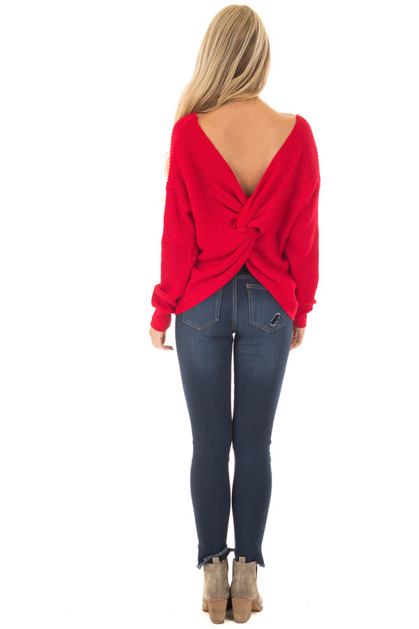Cherry Red Knit Sweater with Open Twist Back back full body