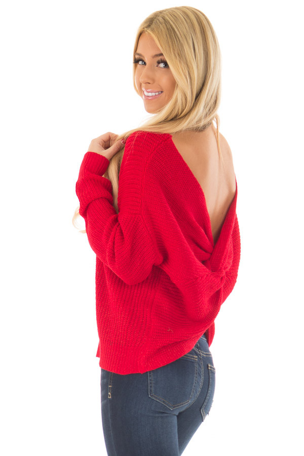 Cherry Red Knit Sweater with Open Twist Back back side close up