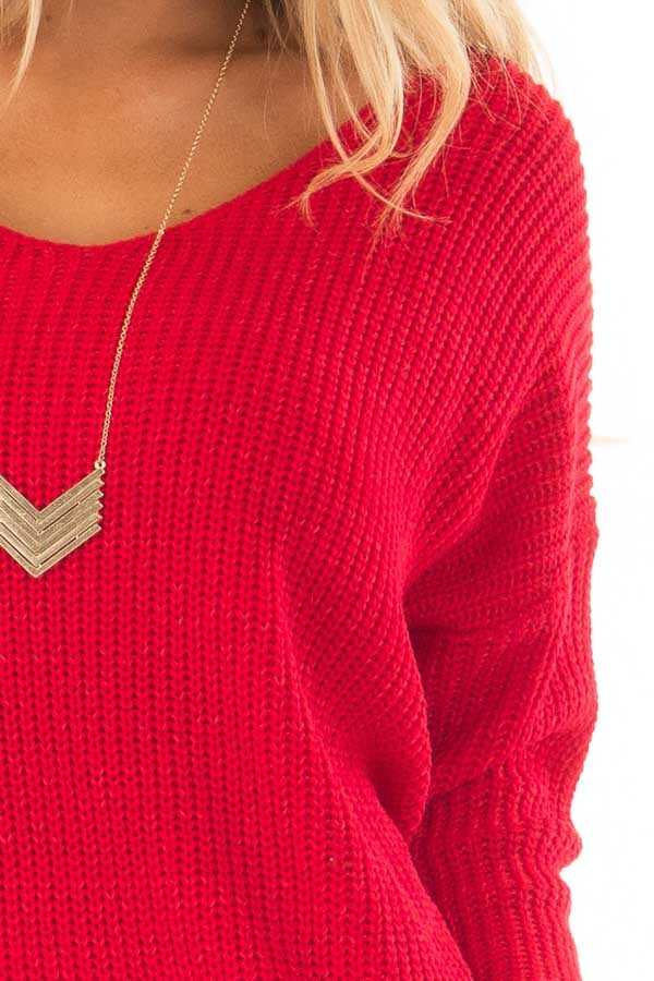 Cherry Red Knit Sweater with Open Twist Back detail
