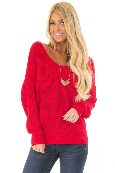 Cherry Red Knit Sweater with Open Twist Back front close up