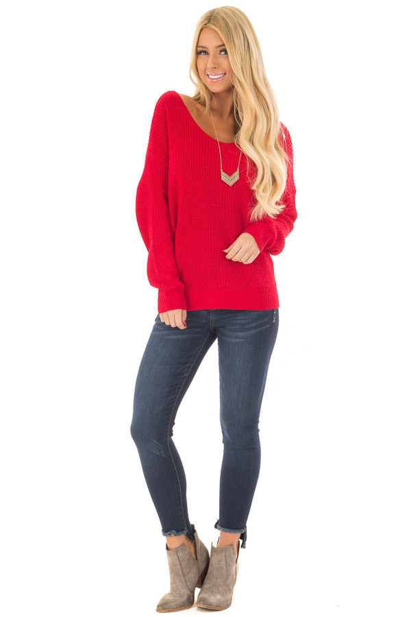 Cherry Red Knit Sweater with Open Twist Back front full body