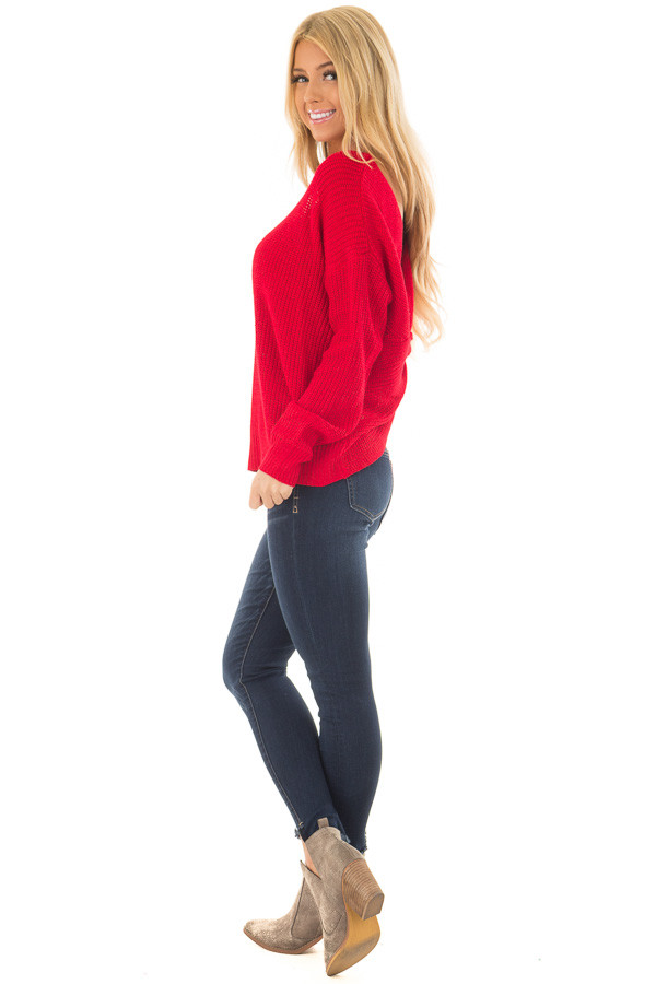 Cherry Red Knit Sweater with Open Twist Back side full body