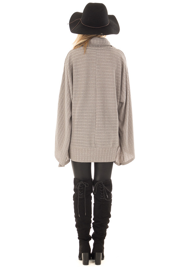 Cloud Grey Wide Sleeve Sweater with Cowl Neck back full body