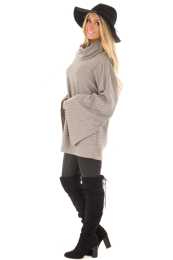 Cloud Grey Wide Sleeve Sweater with Cowl Neck side full body