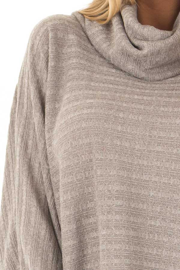 Cloud Grey Wide Sleeve Sweater with Cowl Neck detail