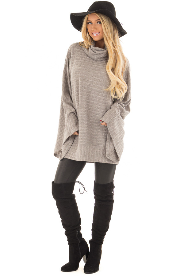 Cloud Grey Wide Sleeve Sweater with Cowl Neck front full body