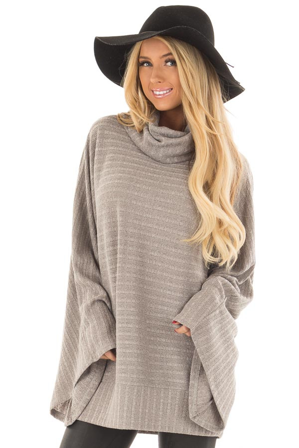 Cloud Grey Wide Sleeve Sweater with Cowl Neck front close up