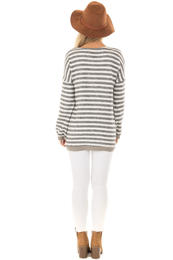 Charcoal and Ivory Striped Top with Front Pocket back full body