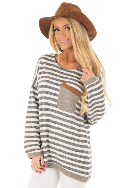 Charcoal and Ivory Striped Top with Front Pocket front close up