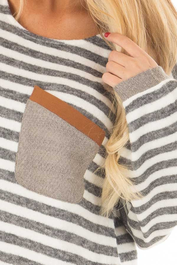 Charcoal and Ivory Striped Top with Front Pocket detail