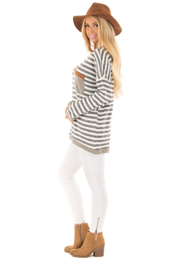Charcoal and Ivory Striped Top with Front Pocket side full body