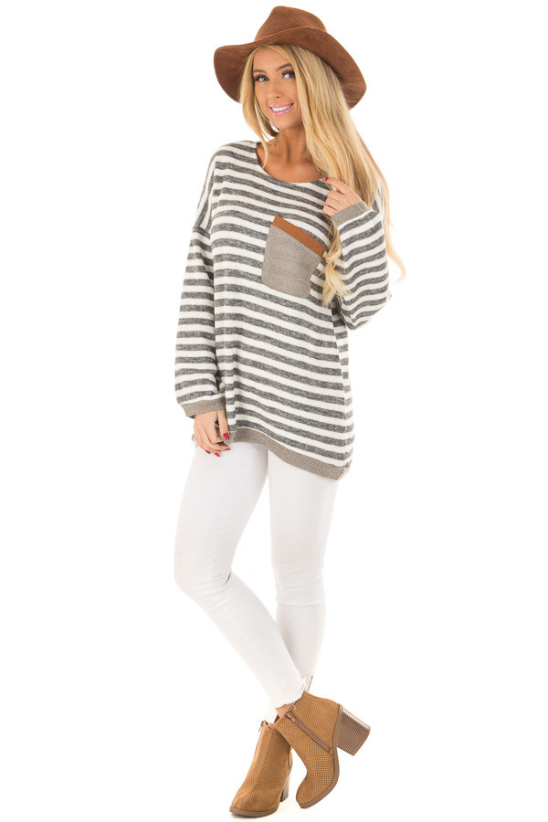 Charcoal and Ivory Striped Top with Front Pocket front full body