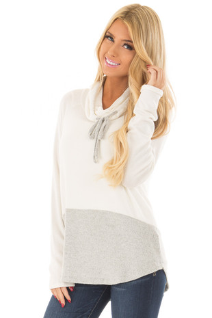 Ivory Cowl Neck Heather Grey Color Block Top front close up