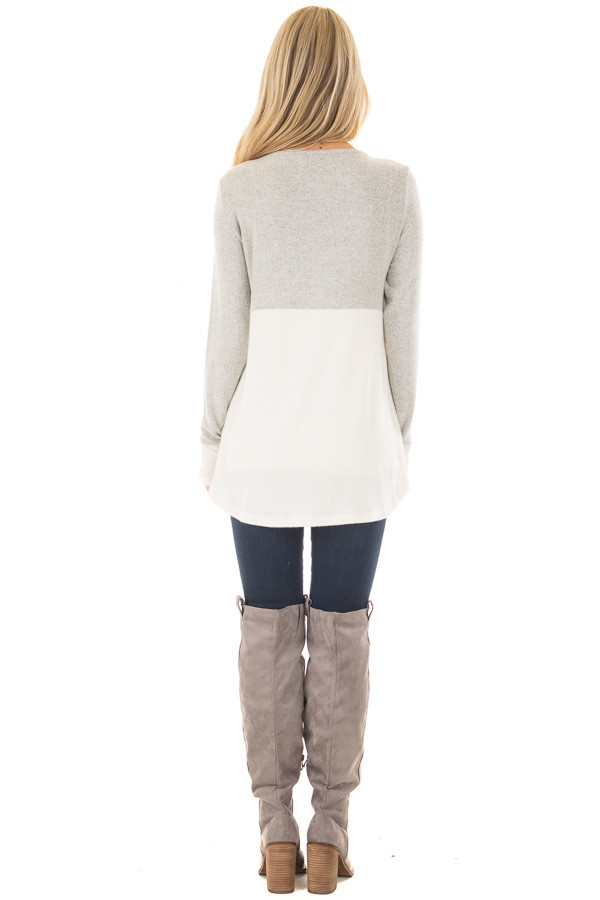 Heather Grey and Ivory Color Block Top back full body