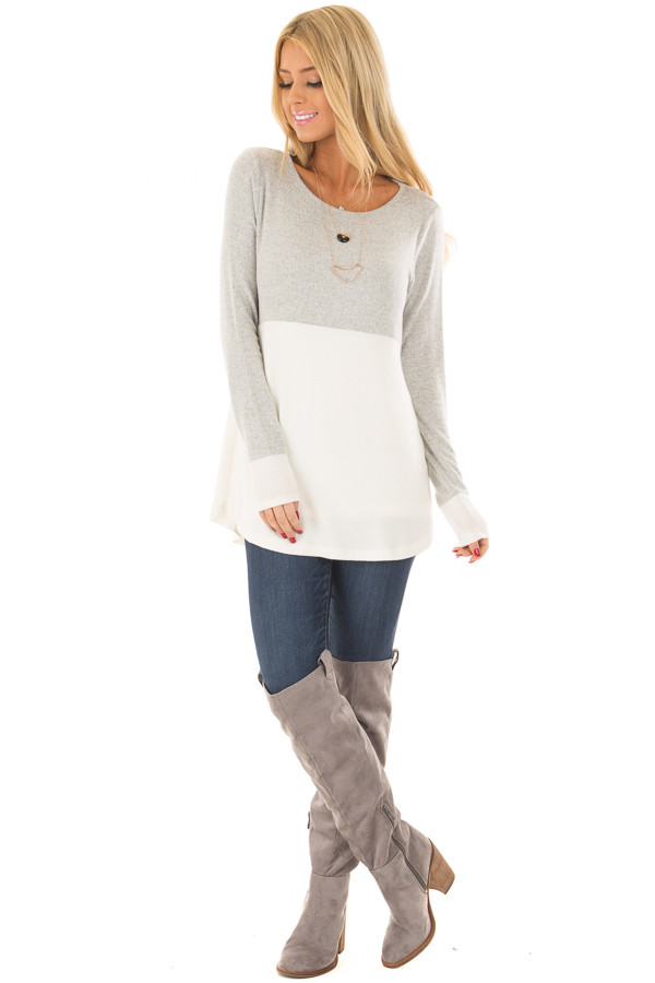 Heather Grey and Ivory Color Block Top front full body